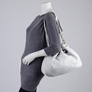 Dior Bags - Dior Drawstring Cannage Quilted White Leather Hobo